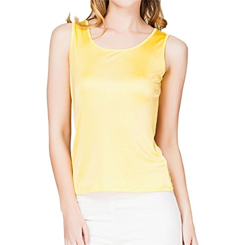 Paradise Silk 100% Silk Knit Women's Sleeveless Tank Top Medium Yellow