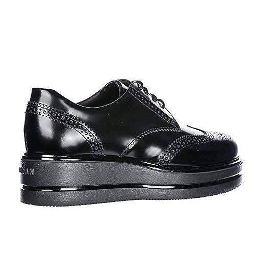 baa3383d86 Hogan Chaussures à Lacets Classiques Femme en Cuir h323 Derby Noir ...