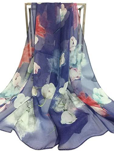 Women Fashion Silk Scarf Oblong Floral Oversize Soft Shawl Beach Wrap (Navy Blue)