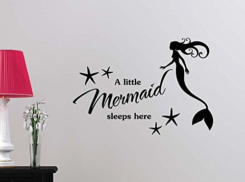 A mermaid sleeps here starfish beach love cute playroom sticker nursery vinyl saying lettering wall art inspirational sign wall quote decor by Simple Expressions Arts