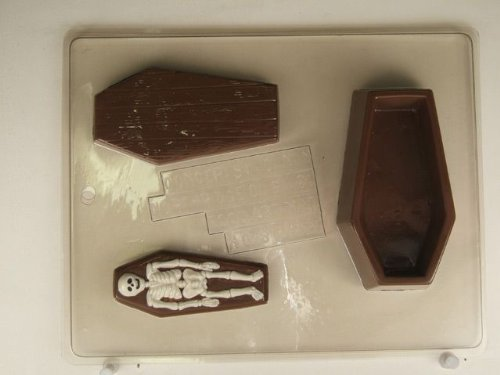 - Wooden casket box w/ lid & skeleton piece H078 Halloween Chocolate Candy Mold