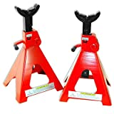 3 Ton Jack Stands | Ratcheting Pair Heavy Duty Lift Lock Capacity Car Truck Auto