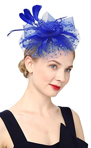 Cizoe Flower Cocktail Tea Party Headwear Feather Fascinators Top Hat for Girls and Women(1-Royal blue)]()