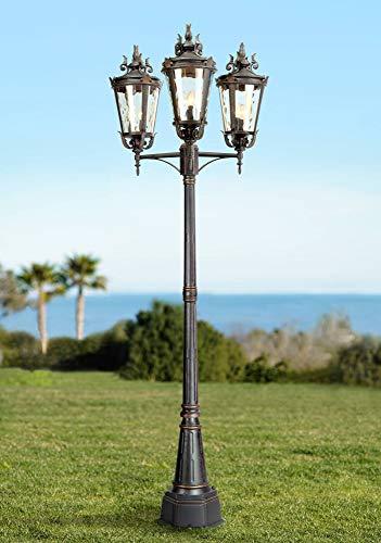 Casa Marseille Traditional Outdoor Post Light Mediterranean Street Lantern 3 Light Veranda Bronze 100