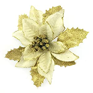 YJBear 10 pcs 5 Inch Christmas Glitter Artificial Poinsettia Flower Christmas Tree Decoration Wedding Party Fake Flower Home Decor 76