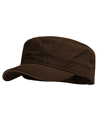 NYFASHION101 Fashionable Solid Color Unisex Adjustable Strap Cadet Cap, Brown
