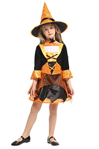 Joygown Girl's Witch Halloween Costume Dress Up Cosplay with Hat Orange and Black C -