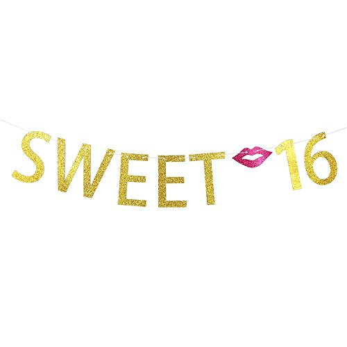 Gold Sweet 16 Birthday Banner - 16th Wedding Anniversary Party Decoration Bunting Photo Props, Party Favors, Supplies, Gifts, Themes and Ideas]()