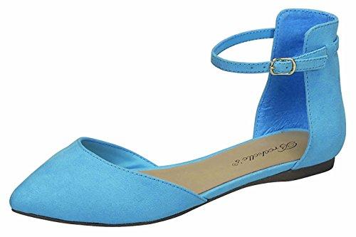 Breckelles Femmes Dorsay Pointu Orteil Cheville Sangle Boucle Ballet Plat Bleu