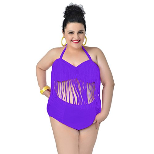 Zmart Plus Size Fringe Padded Swimsuit Two Pieces For Women