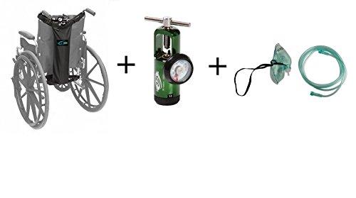 Oxygen Cylinder Bag (D & E Cylinders) for Wheelchairs with Bonus Oxygen Regulator (Oxygen Cylinder Mask)