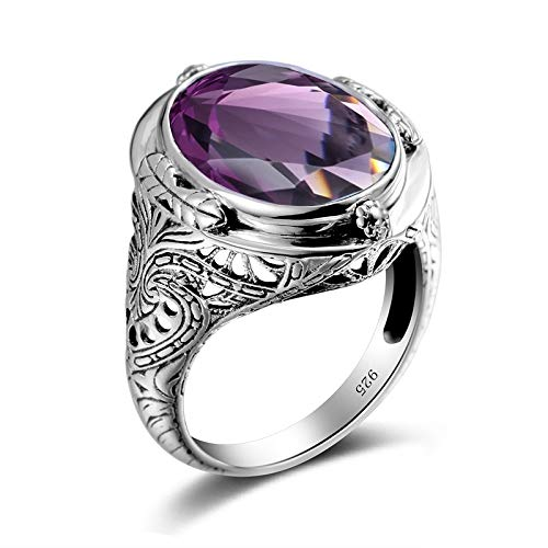 HUAYI Bague Femme Purple Silver Jewelry Amethyst Created Tanzanite Rings Women Men Wedding Rings Vintage 925 Sterling Silver Jewelry (Purple,9)