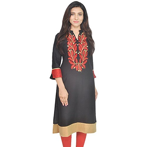 Chichi Indian Women Kurta Kurti 3/4 Sleeve X-Large Size Plain with Jaipuri Embroidered Straight Black-Red Top by CHI