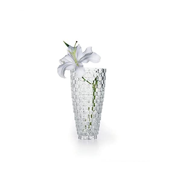 "Mikasa Palazzo Vase Crystal, 9"" - Versatile design can tie back to any Style of home decor 9-Inch crystal vase; wonderful gift for any occasion Made of crystal; Comes in Mikasa photo gift Box - vases, kitchen-dining-room-decor, kitchen-dining-room - 41bofjjnBeL. SS570  -"