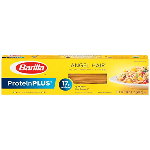 Barilla ProteinPlus Multigrain Pasta, Angel Hair, 14.5 Ounce (Pack of 20), Packaging may vary