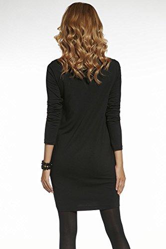 Ennywear 220046 Vestido Con Estampado Floreado La Manga Larga Y Escote Pico - Hecho En La UE gris oscuro