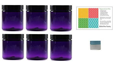 Purple 8 oz Plastic Jars with Black Lids (6 pk) with Mini Jar - PET Round Refillable Containers (Pint Glasses Bells)