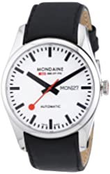 Mondaine Railways White Dial SS Leather Automatic Men's Watch A1323034511SBB