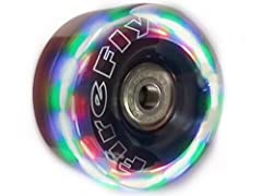 Features ClearTech urethane with LED lights in red, yellow, and green. The lights come on automatically when the wheels are spinning. Looks great and can help with safety when skating outdoors.