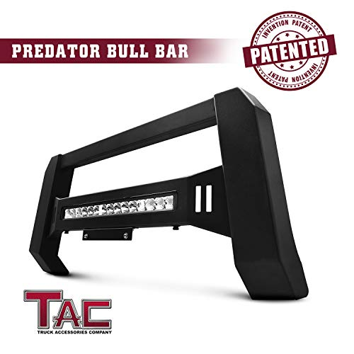 TAC Modular Bull Bar Fit 2004-2019 Ford F150 Truck Pickup Off Road Accessories Front Brush Bumper Grille Guard Fine Textured Black with LED Off-Road Light (Predator LED Version)