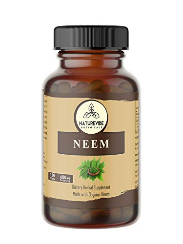 180 Capsules Organic Neem -100% Organic Neem Leaf Powder, 600mg Per Serving | Veg Capsules...