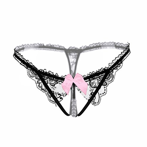 Defline Women Sexy Lace Thong Fancy Panties Pearl Massage Underwear T-Back Open Crotch Lingerie Tanga