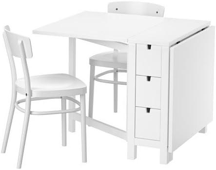Amazon De Ikea Norden Idolf Tisch Und Zwei Stuhle Weiss Weiss