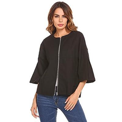 Cheap Zeagoo Women's Long Sleeve Washed Linen Crop Blazer Jacket With Pocket