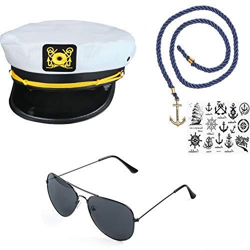 Beelittle Yacht Captain Hat Costume Accessories Set Sailor Hat with Corn Cob Pipe & Aviator Sunglasses (E)
