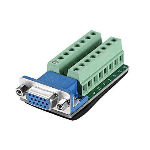 uxcell D-sub DB15 Breakout Board Connector 15 Pin 3-Row Female Port Solderless Terminal Block Adapter with Positioning Nuts