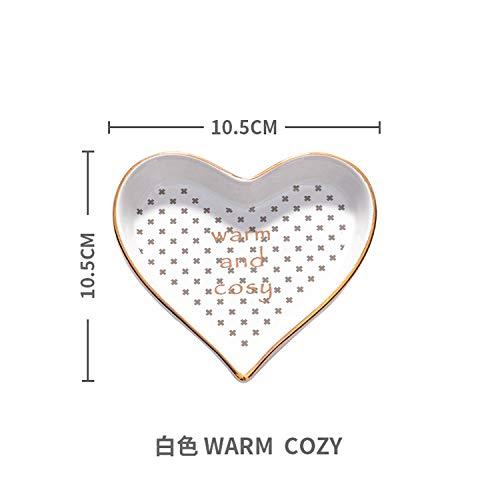Small Heart Shape Porcelain Plate Handpainted Saucer Ceramic Jewelry Dish Decorative,White Warm ()