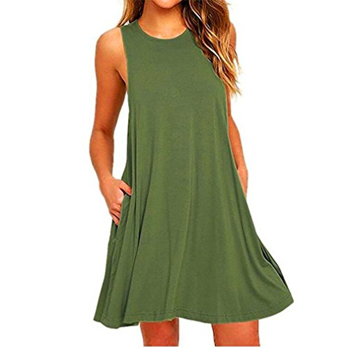 FULLIN Fashion Dress Women Casual Sleeveless Pockets Dress Swing T-Shirt Dresses,Green,XL