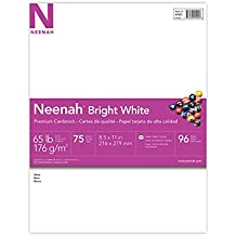 """Neenah Bright White Cardstock, 8.5""""x11"""", 65lb/176 gsm, Bright White, 75 Sheets (90905)"""