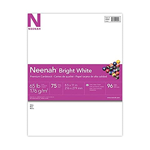 Neenah Bright White Premium Cardstock, 96 Brightness, 65 lb., 8.5x11 inches, 75-Sheets (90905) (Printer For Card)