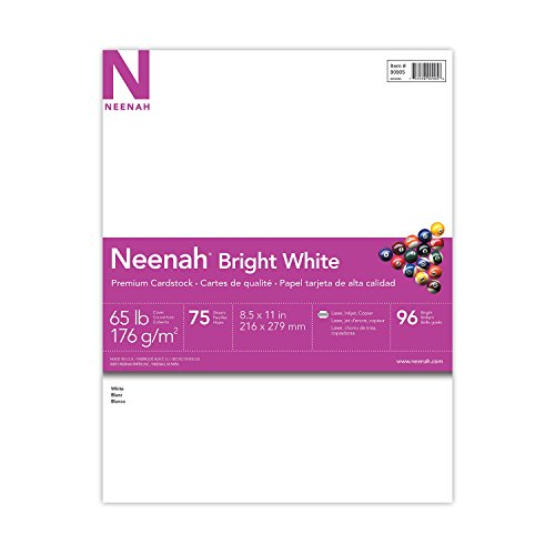 "Neenah Bright White Cardstock, 8.5""x11"", 65lb/176 gsm, Bright White, 75"