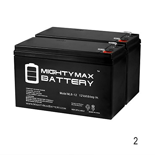 12V 8Ah Fire Alarm Battery Replaces 12V 7Ah Edwards EST 12V6A5 - 2 Pack - Mighty Max Battery brand product (Est Lighting Outdoor)