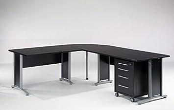 Eckschreibtisch  Froschkönig24 Prima Winkelkombination Schreibtisch Eckschreibtisch  Bürotisch mit Rollcontainer Schwarz