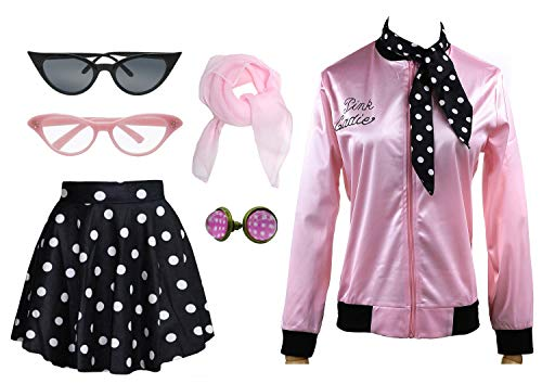 1950s Pink Ladies Satin Jacket T Bird Women Danny Halloween Costume Outfit (Black, 3X-Large)