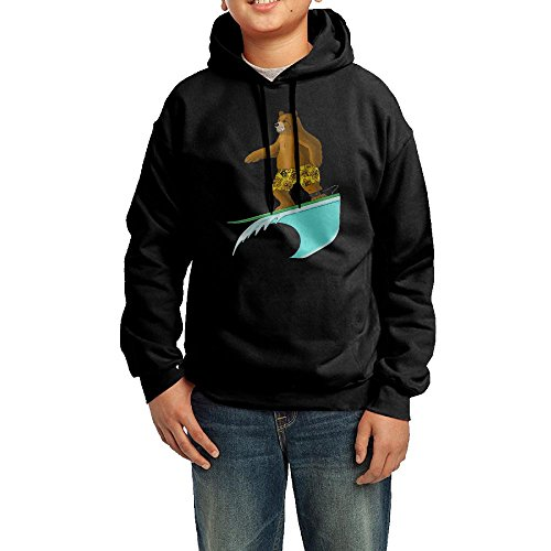 Funny Bear In Aloha Boardshort Surfing Toddler Hoodies Pullover Hooded Sweatshirts L