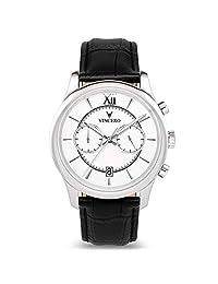 Vincero - Reloj de pulsera para hombre con correa de piel, cronógrafo de 43 mm, movimiento de cuarzo japonés, Blanco/Negro, 43.00