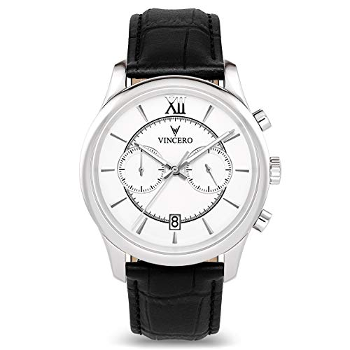 Vincero The Bellwether Dial Leather Strap Men's Watch WHI-BLA-W13