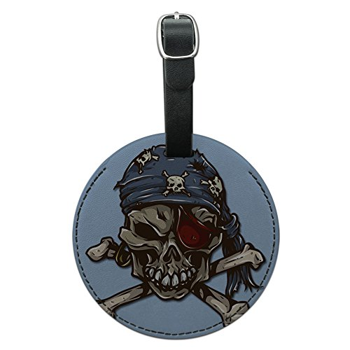 Graphics & More Pirate Skull Round Leather Luggage Id Tag Suitcase Carry-on, Black