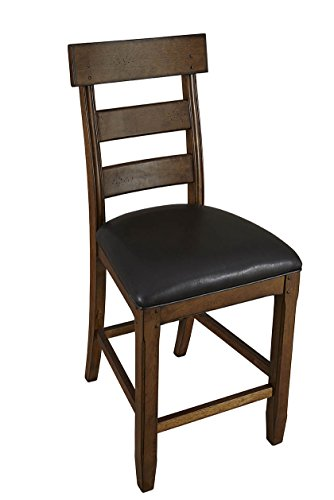 Gathering Table Trestle Base - A-America Ozark Ladderback Counter Chair with Upholstered Seat - 2 Chairs, Warm Pecan