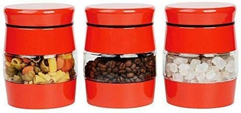 3 Piece Airtight Coffee Tea Sugar Glass Food Storage Canisters Jars Set for Multipurpose (Red)