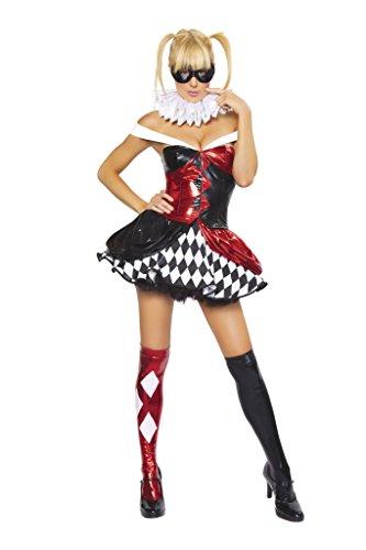 Harley Quinn Harlequin 4pc Women's Sexy Clown Costume-Costume Only (M/L) (4pc Sexy Clown Costume)