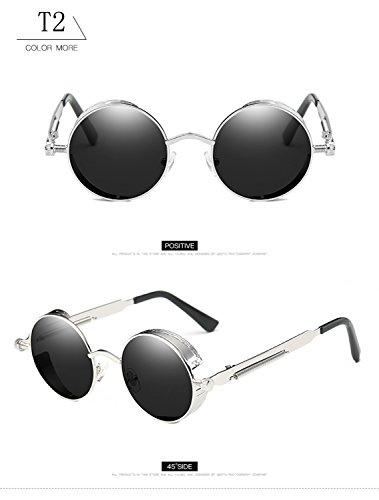 gran UV400 protección ATNKE góticas hombres retro T2 sol para Vintage tamaño gafas redondas lente reflectante metal gafas mujeres Steampunk HD de marco con de de de Sr8S1qP