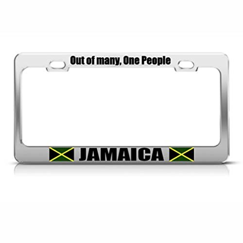 Speedy Pros Jamaica Out Of Many One People Country Metal License Plate Frame Tag Holder ()