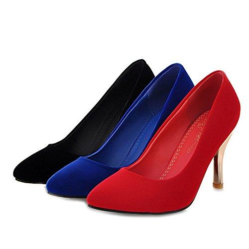 Escarpins à 10 SJJH et talon Élégantes Materail Chaussures moyen taille Femmes Bleu 5 avec grande velours UK Disponible d5qqvw