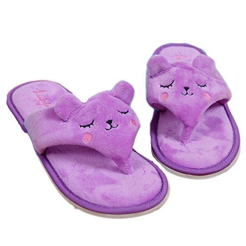 E.a@market Summer Womens Cute Cartoon Plush Slipper Flip Flops Purple Rabbit b1bvD3