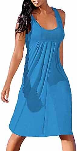 Hengshikeji Womens Dresses Sexy Ladies Summer Solid Sleeveless Plain Pleated O Neck Casual Loose Mini Dress